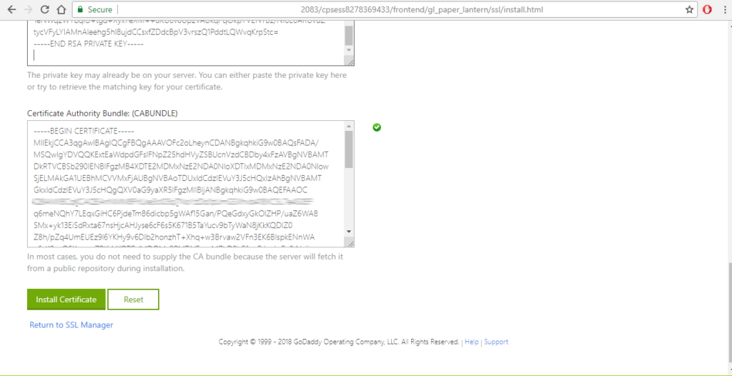 install certificate lets encrypt zerossl in godaddy admin panel