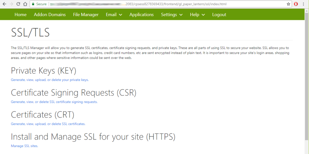 ssl tls web page godaddy to install and manage ssl certificate