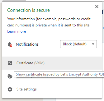 website with digital certificate from lets encrypt