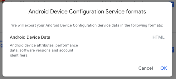 android device configuration service formats -for google takeout