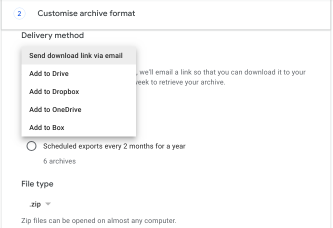 archival methods in google takeout