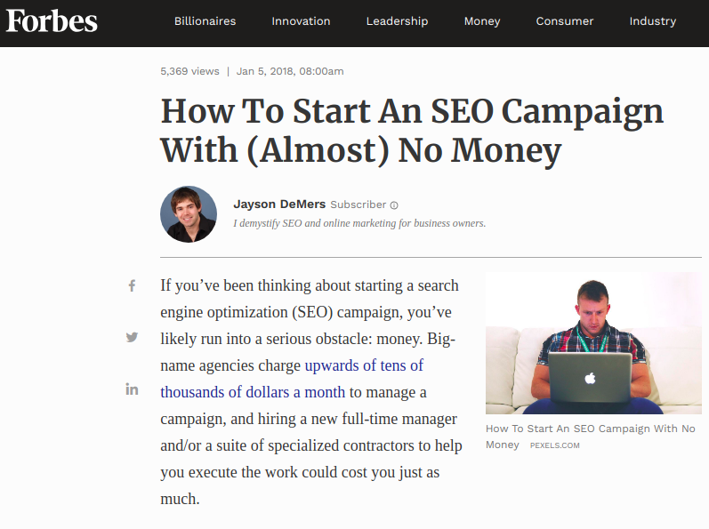 how to start seo campaign from forbes - not a long form content - not by a long shot