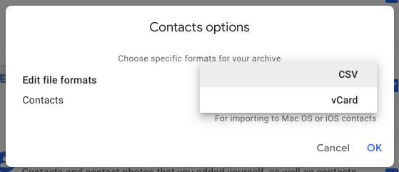 google contacts backup for google takeout