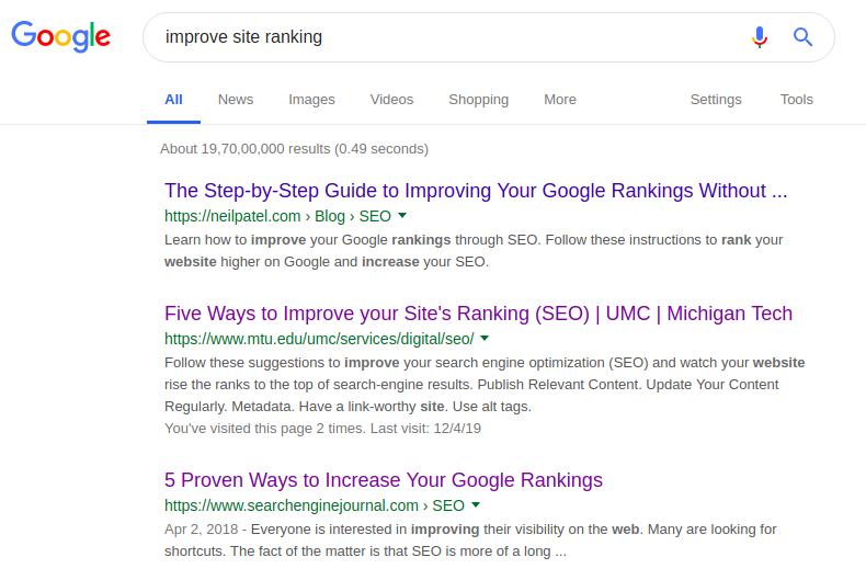 improve site ranking search keyword