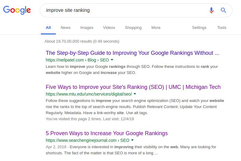 improve site ranking search keyword