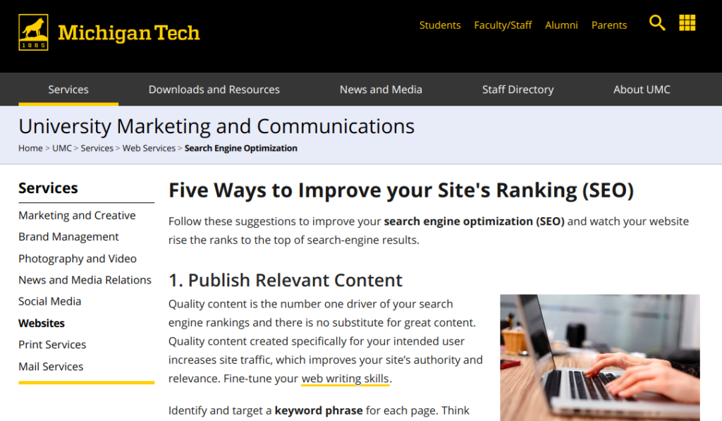 Michigun Tech reports on on how to improve Site Ranking - ranks higher