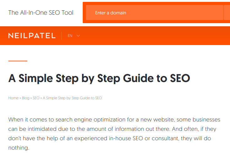 and this is Neil's post for a step by step Guide to SEO - this is, again, text book long form content