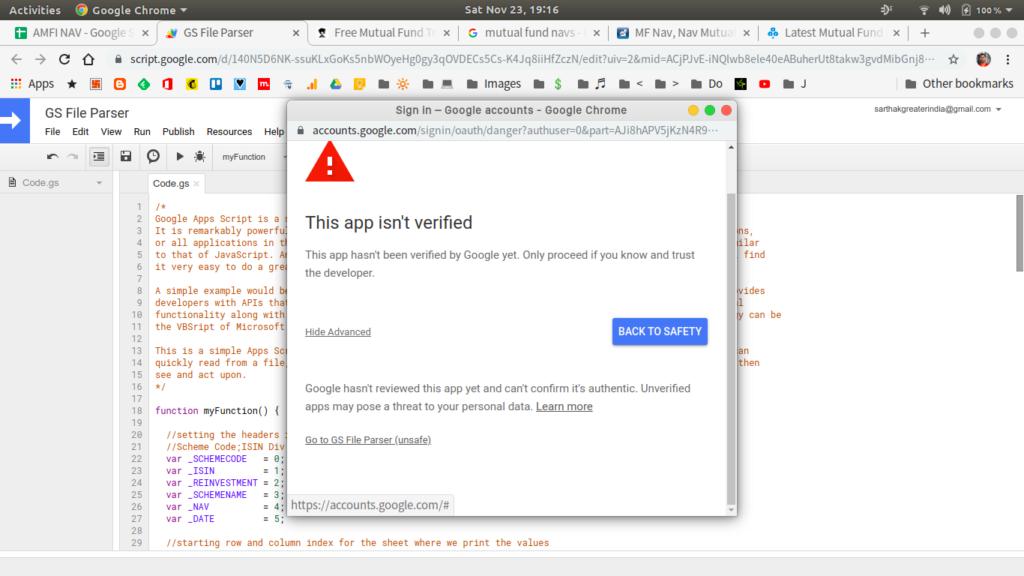 app verification appscript