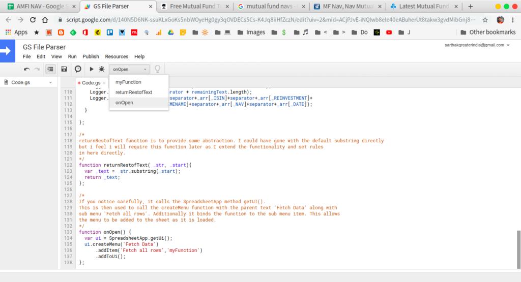 register new menu item appscript google sheets