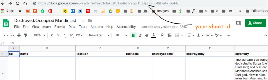 Get google sheets id