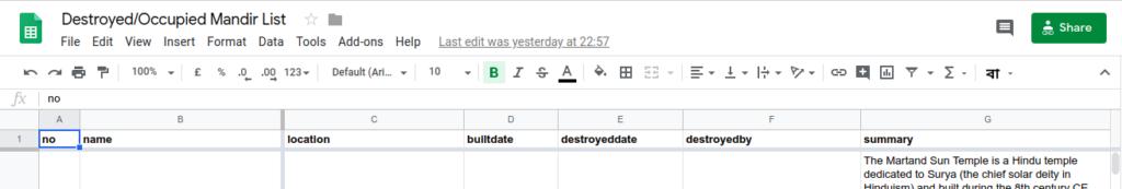 google sheets headers