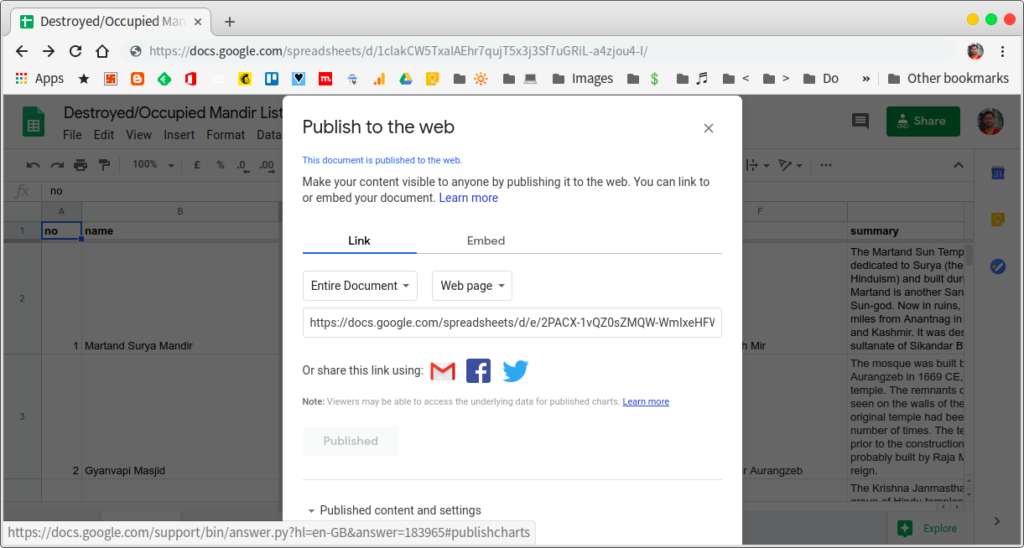 publish google sheets to web and get link