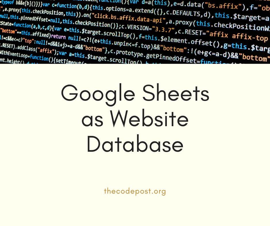 Google sheets as website database